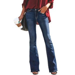 Flare Jeans Pants Wide-Leg Boyfriend High-Waist Black Denim Plus-Size Women Ladies Female