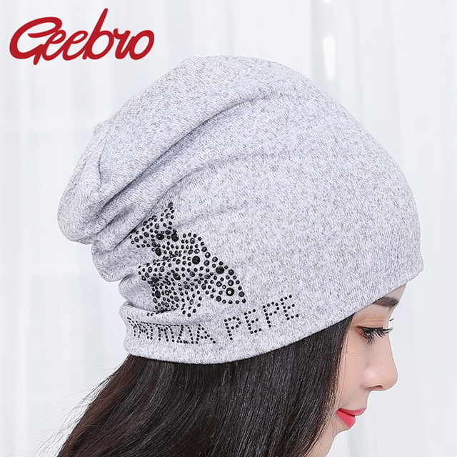 5ae6d634395 Women Brand Spring Hat Letter Beanies Cotton Knit Hats Snapback Hat Adult  Beanie Hip Hop Hats Crystal Caps Chapeau Femme GB008