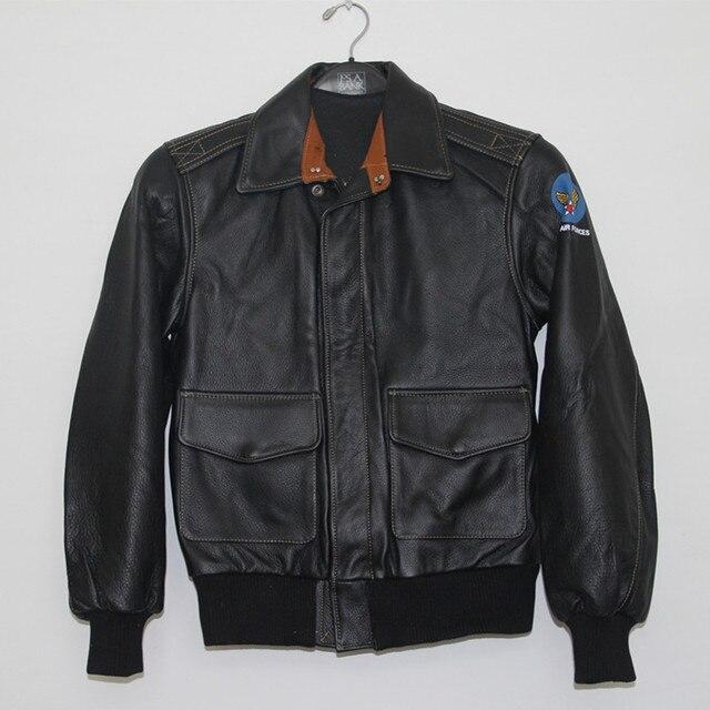 2017 New Men A2 Flight Leather Pilot Jacket Epaulet Short Slim Black Genuine Cow Men Winter Military Aviator Coat FREE SHIPPING