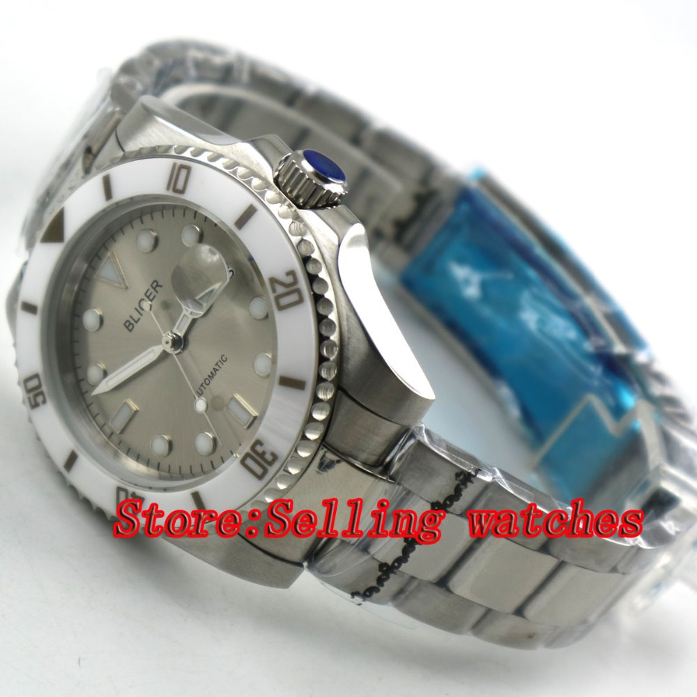 лучшая цена Bliger 40mm gray dial luminous saphire glass white ceramic Bezel Automatic movement men's watch