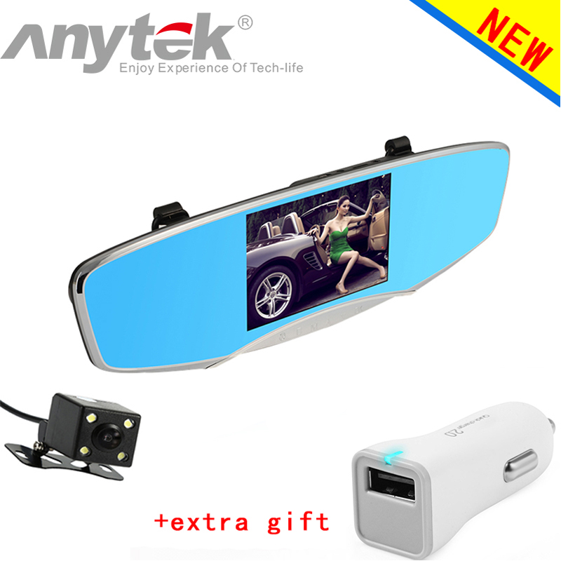 ФОТО Anytek Q3 Car DVR HD Wide-angle Dual-lens Driving Recorder Night Vision Rear View Mirror Car Camera  5.0 Inch dash cam