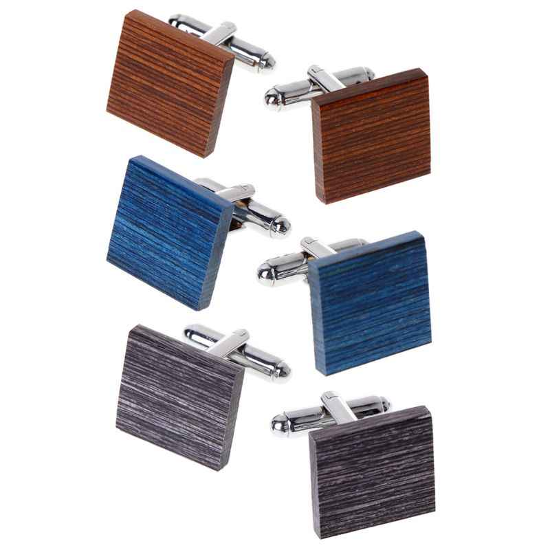 Men Cufflinks Square Wooden Decoration Suit Shirt Fitting Fashion Creative Wood Jewelry Charms Gifts High End Unique Elegant