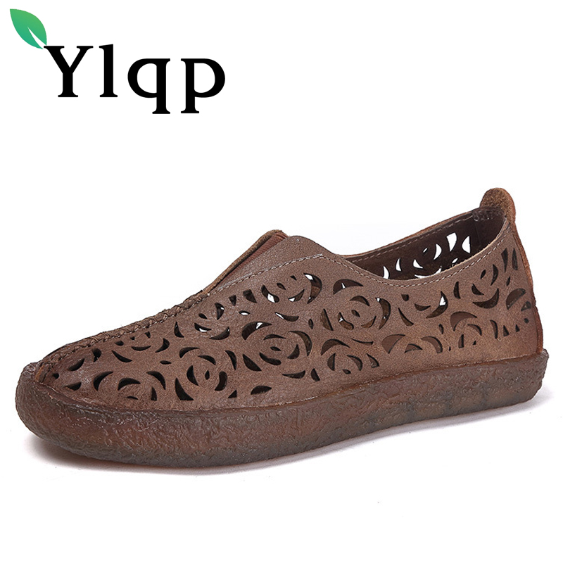 Ylqp 2018 New Casual Shoes Woman Genuine Leather Soft Bottom Hollowed Out Low Heels Pumps Retro Cowhide Comfortable Women Shoes