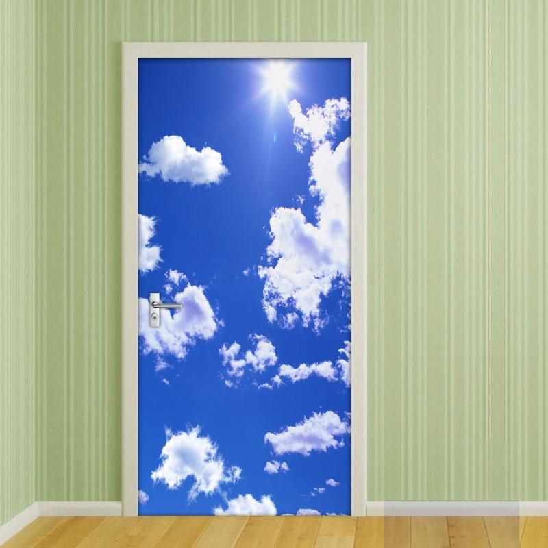 3D Door Mural Wallpaper PVC Waterproof Self-adhesive Wall Sticker Blue Sky And White Clouds 3D Bedroom Door Stickers Home Decor