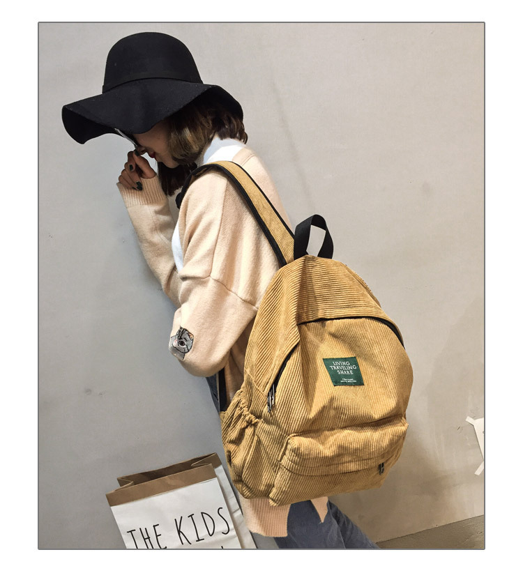 HTB1ppUQc56guuRjy1Xdq6yAwpXaz Women Striped Corduroy Backpack Female Eco Simple Cloth Bag Large Capacity Vintage Travel Bags School Backpack for Teenage Girls