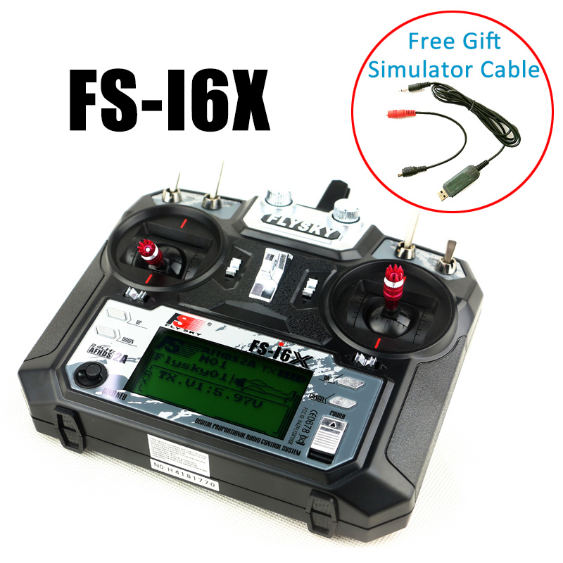 With Simulator Cable Gift Flysky FS i6X 2.4GHz 10CH RC Transmitter Radio Set 6ch 8ch 10ch Receiver For RC Heli Quad Airplane Car-in Parts & Accessories from Toys & Hobbies