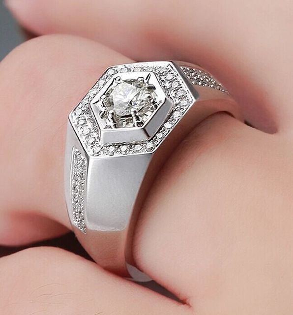 New Design 14Karat White Gold Wedding Rings for Men Romantic 1CT