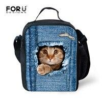 Kawaii Cat Animal Impreso Niños Bolsas de Comida para Las Niñas Niños Bolsa de Almuerzo Bolsa de Picnic Aislados Lonchera Térmica Lancheira Escolar