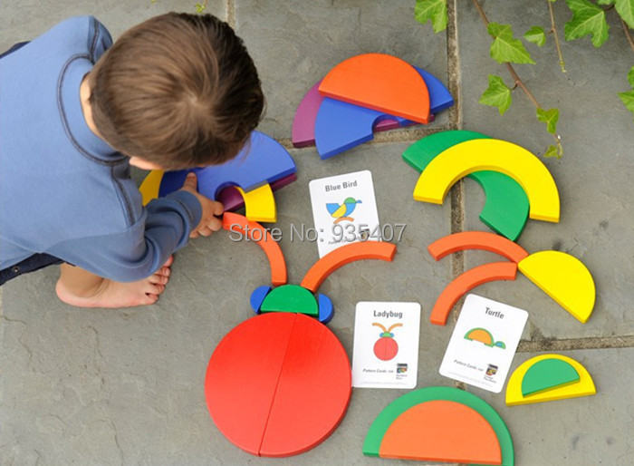 Купить с кэшбэком New wooden toy Rainbow Blocks circle set match-a-picture Baby toy