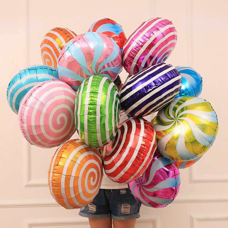 1pcs Lollipop Balloons 18inch Candy Purple Red Pink Blue Balloon Donut Foil Aluminum Baloon Wedding Birthday Party Decorate Gift