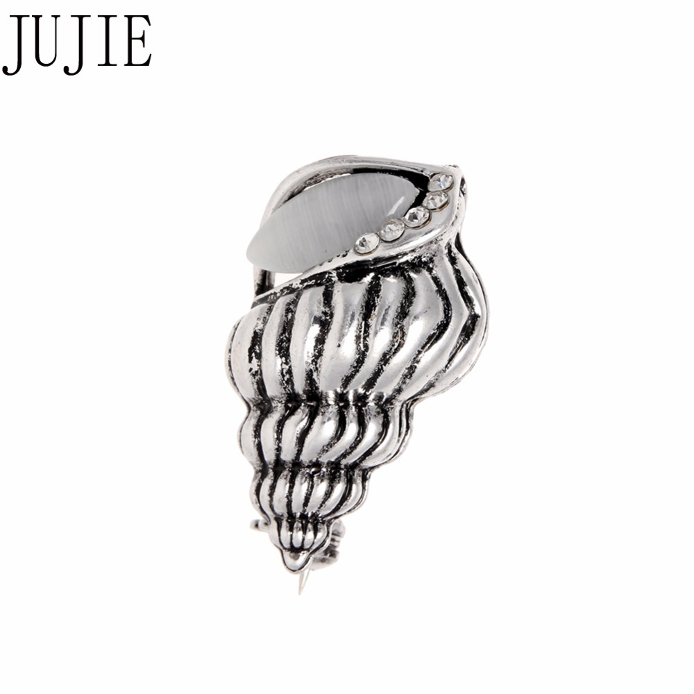 JUJIE New Summer Style Vintage Crystal Conch Brooches Womens T-shirts Stone River Snail Lapel Pin Corsage Dress Fashion Jewelry