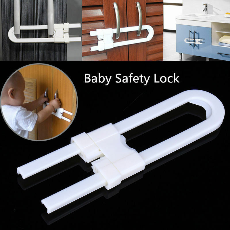 U-Shaped Lock Child Baby Safety Cabinet Latches Kid Safe Closet Kitchen Door Baby Protection Locks Straps Multifunction