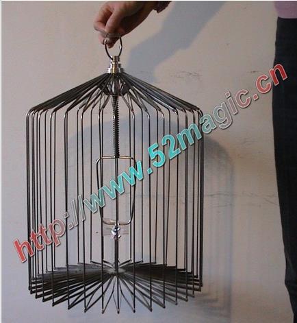 Cage à oiseaux en acier argenté-taille moyenne (cage apparaissant colombe), tours de magie, magie de scène, accessoires, illusions