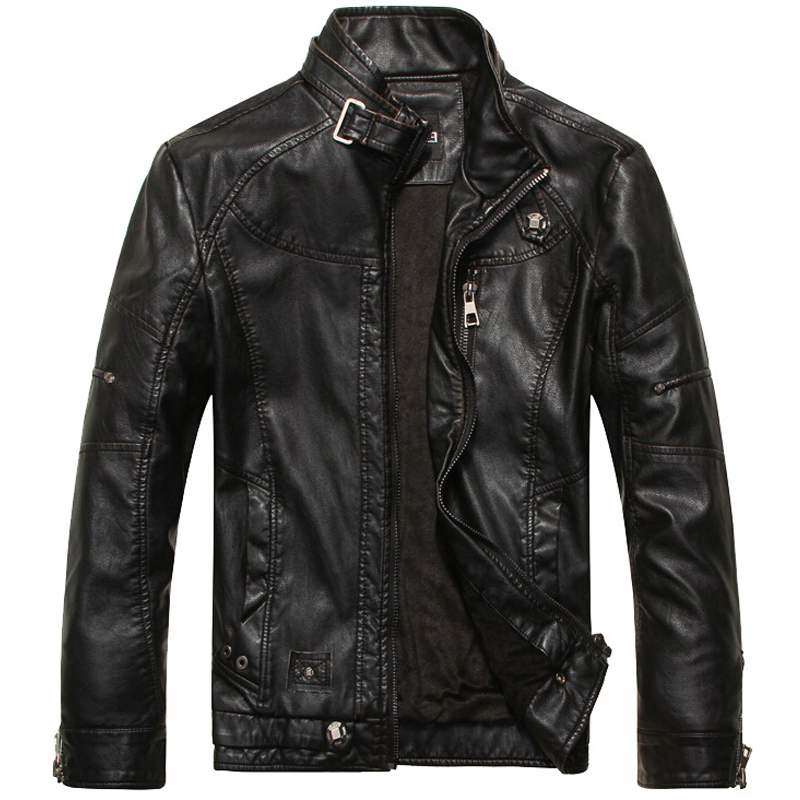 Leather Jacket Men Motorcycle Jackets jaqueta de couro masculina casaco male leather bomber Classic Style PU Leather M- XXXL