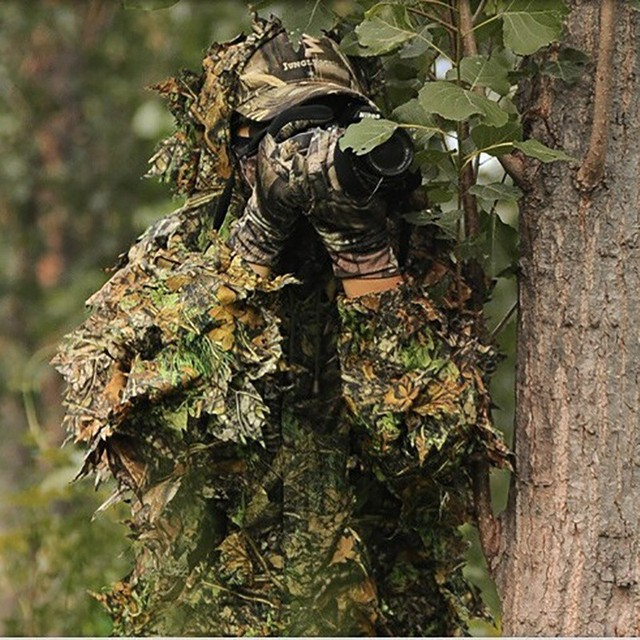 Hunting Clothes Suit 3D Leaves Lightweight Breathable Long Sleeve Hooded Tops Pants Outdoor Shooting Birding Apparel Photography 3