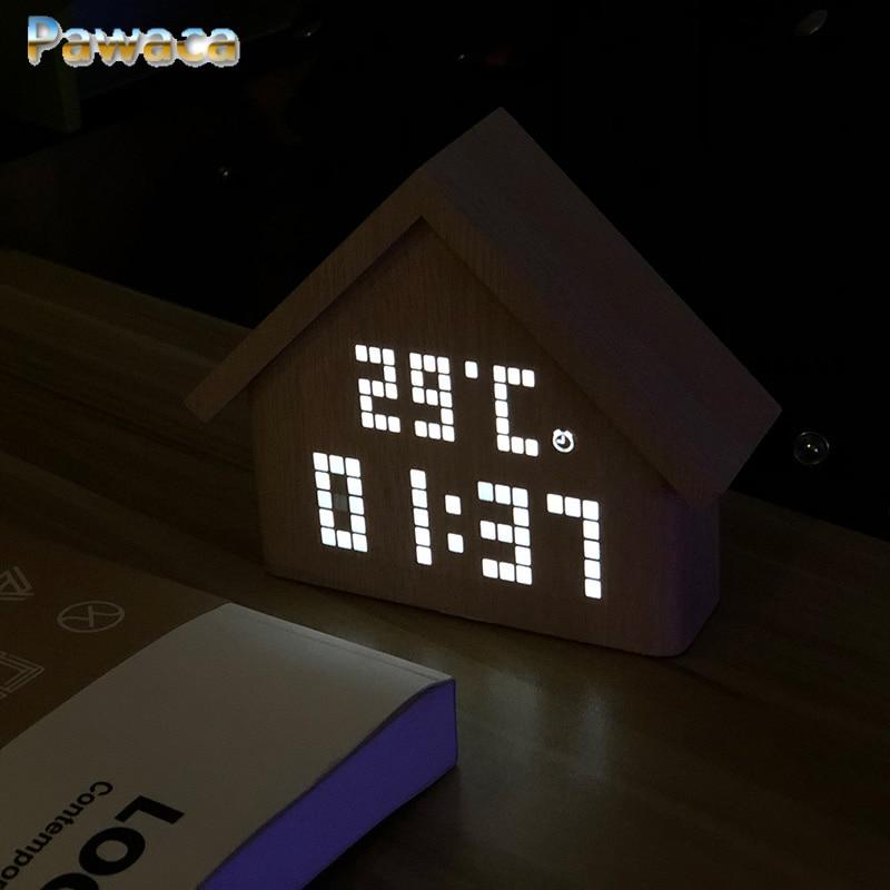 Sound Control Wooden Electronic Wood LED Alarm Clock Desktop Table Digital Thermometer Wood USB/AAA Date Display Despertador