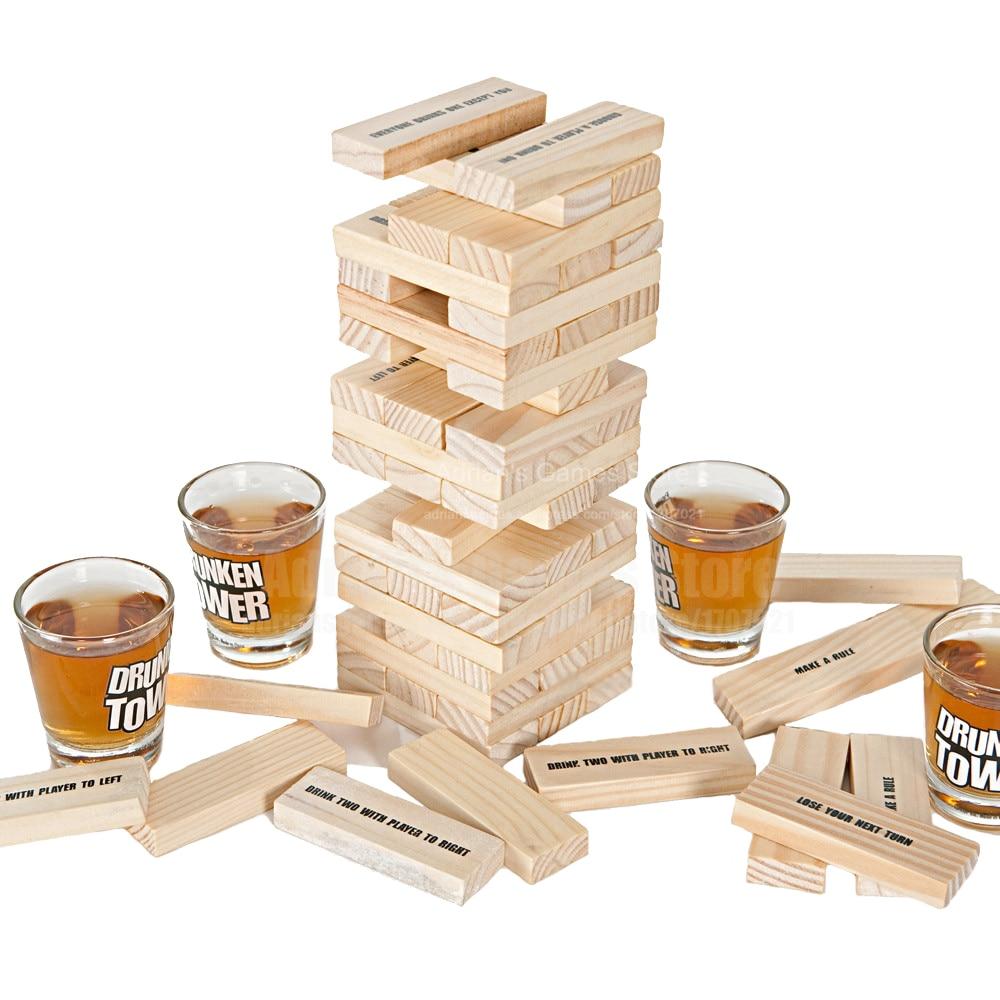 Drunken Tower Drinking Games The Crab A Piece Stacking Jigsaw Blocks Hardwood Board Game Bingo Pub/Night Club Party Game