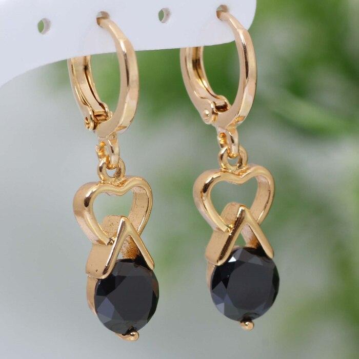 Graceful Drop Earrings gold Black Cubic Zirconia earrings fashion jewelry E024