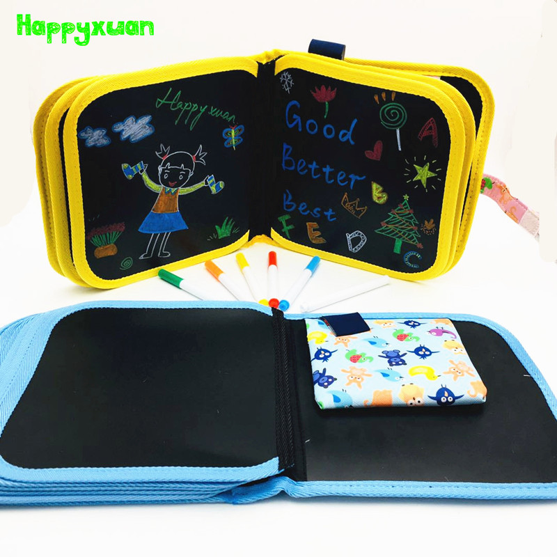 Happyxuan 10/14 Pages Fully Black Kids Portable Chalk Board Blackboard Book For Children Colouring Doodle Painting Drawing Toys