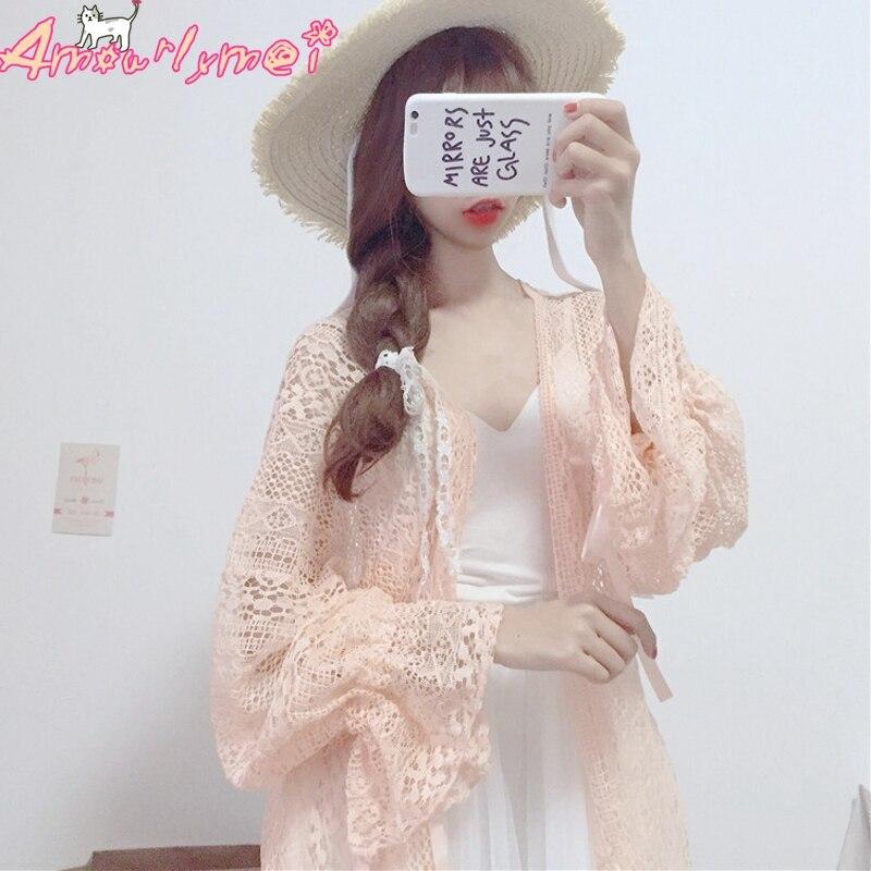 2018 Summer Women Shirt Japanese Style Mori Girl Lolita Sweet Pink Bow Lace-up Lantern Sleeve Crochet Lace Cardigan Blouse Tops girl