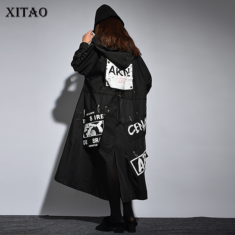 [XITAO]  Single Breasted Women 2018 Winter Korea Fashion A line Hooded Collar Coat Female Print Letter Long Trench  ZLL1100-in Trench from Women's Clothing    1