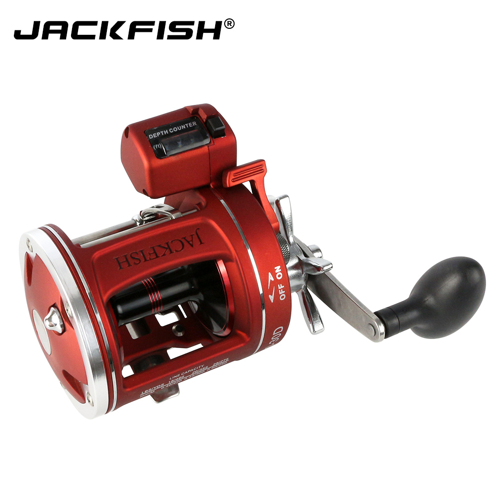 JACKFISH High-quality Bait Casting Fishing Reel with counter 12BB High-strength body cast drum wheel baitcasting reels Pesca trolling reel 9 1bb drum wheel carp baitcasting reels centrifugal brake casting saltwater fishing reel super power drag 30kg