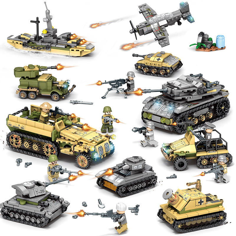 1061pcs 8in2 24ways to play Children s building blocks toy Compatible city Military series DIY figures