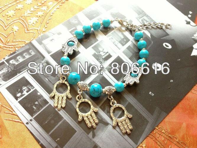 Palm Wholesale Antique Silver Alloy & Acrylic Bracelet Charm Bracelets Fashion Jewelry