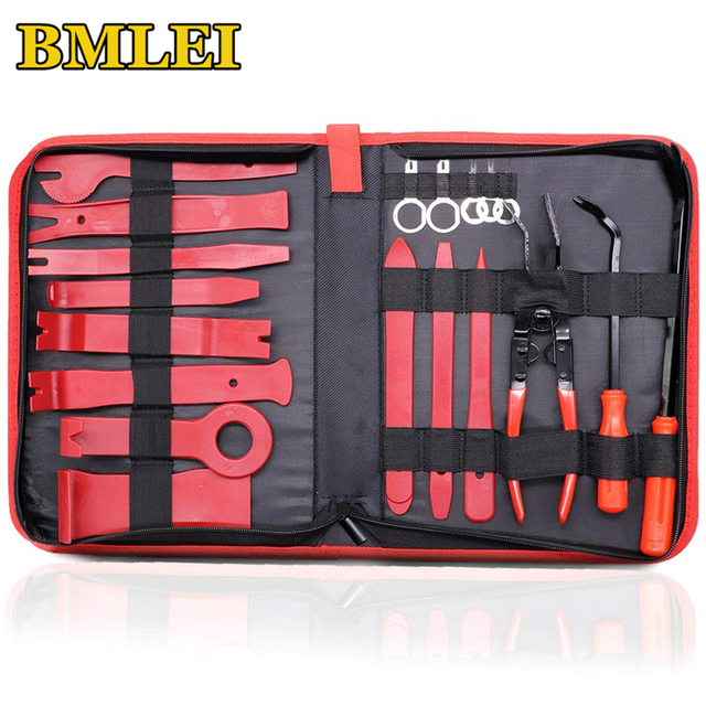 Car Trim Removal Tools Kit Auto Panel Dash Audio Radio Removal Installer Repair Pry Tools Kit Fastener Removal with Storage bag
