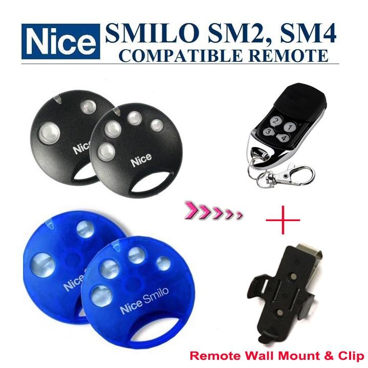 Nice SMILO SM2,SMILO SM4 replacement garage door remote control + Wall Mount + Clip nice flo2r s replacement garage door opener remote control