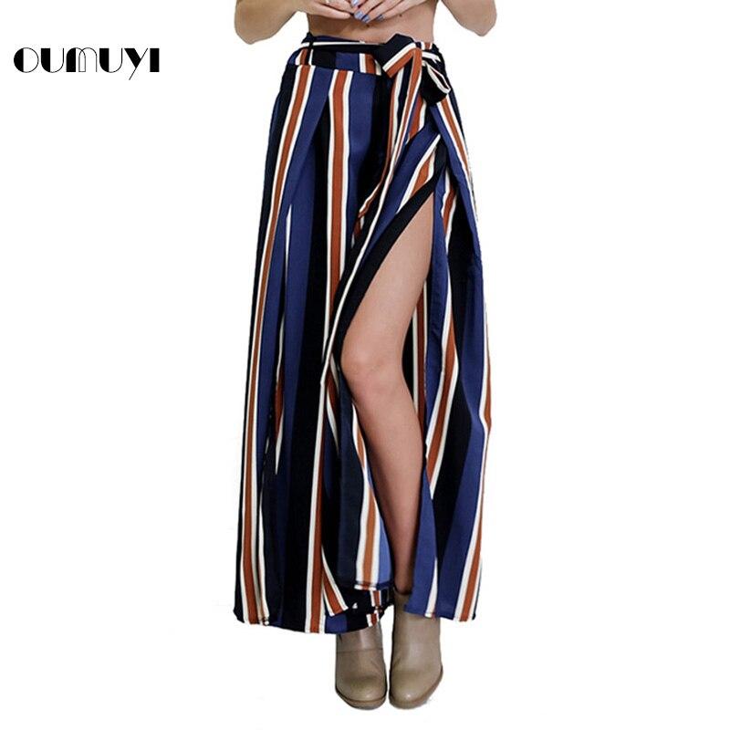 f2be5251db OUMUYI Sheinside Navy Split Side Wide Leg Cropped Pants Autumn Elegant High  Waist Women Striped Pants Zipper Bow Tie Loose Pants-in Pants & Capris from  ...