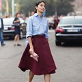 Dark Red Wine Color Knee Length Skirts Burgundy Skirt For Women Fashion England Style 2016 Zipper Style Lady Clothing