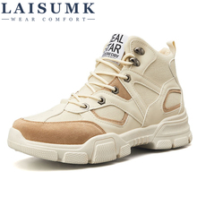 LAISUMK Cowhide Ankle Boots Soft Leather Round Toe Breathable Bullock Patterns Oxford Dress Shoes For Men Riding