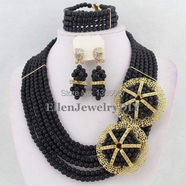b53f621e12c8 La boda nigeriana espléndida Cuentas joyería conjunto africano Cuentas  joyería collar pulsera Pendientes conjunto tl1568