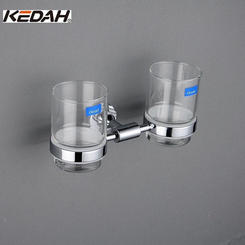 KEDAH Double Cup Holders Imported Marine Glass Cup & Tumbler Holders Stainless Steel Embedded Bathroom Cup Holder KD8210 tbs kedah