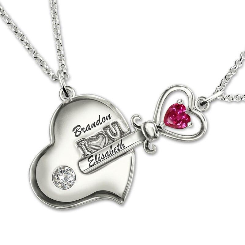Lady personnalisé nom paire clé à mon coeur colliers Costume lettre pierre Couple collier argent 925 pendentif chaîne pour amoureux bibelot