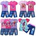 2017 Summer Girls Clothing Set Trolls Camiseta + Pantalones Vaqueros Cortos Para los Bebés Amapola Traje de Algodón Tees Niños Tops Para niños