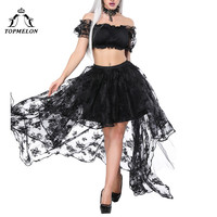 TOPMELON Ruffles Crop Tops & Women's Gothic Skirt Vintage Tulle Maxi Lace Floral Skirts Steampunk Top Off Shoulder Clothing