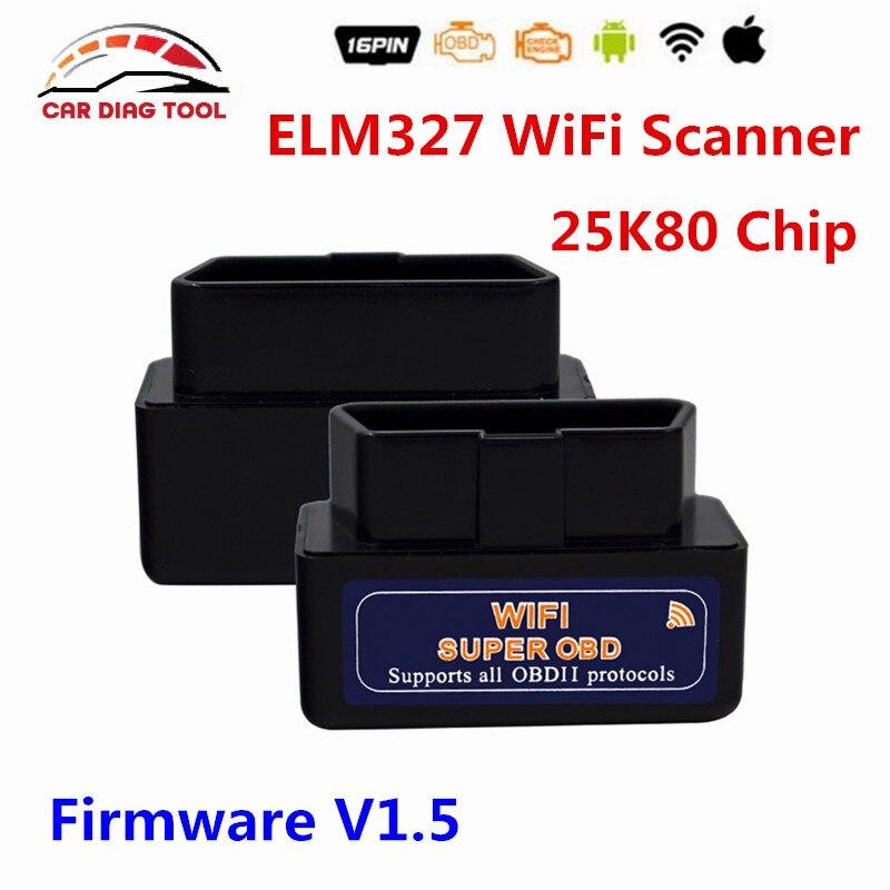 Prix pour Stable V1.5 ELM327 OBDII ELM327 WiFi PIC18F25K80 Puce ELM 327 V1.5 Prend En Charge Tous Les Protocoles OBD2 ELM327 Wi-Fi De Diagnostic Scanner