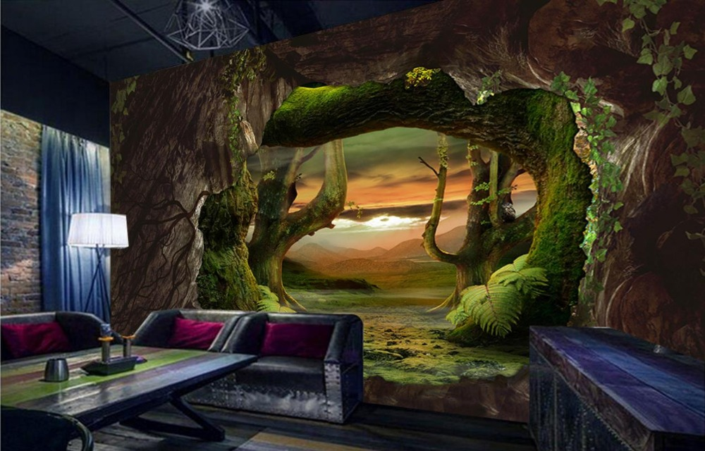 Custom Modern Wallpaper Cave stone Virgin forest 3d Wallpaper Living Room Covering Mural Roll Bedroom Large backdrop custom green forest trees natural landscape mural for living room bedroom tv backdrop of modern 3d vinyl wallpaper murals