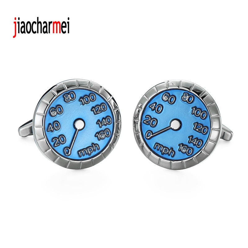 12 pairs of wholesale sales, new fashion high-end mens brand Cufflinks fine jewelry blue car speedometer Cufflinks
