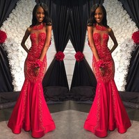 Luxury vestido de festa Charming Robe De Soiree Long Red Appliques Beaded Mermaid 2015 Formal Evening Dresses