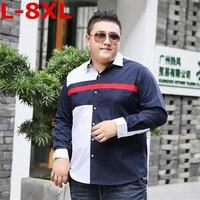 8XL 7XL PLUS SIZE Men S Classic Striped Shirt Long Sleeve Dress Shirt Men Business Formal