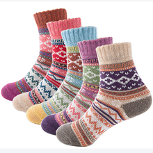 Autumn Winter Thick Warm Womens Socks Lovely Sweet Classic Colorful Multi Pattern Wool Blends Literature Art Style Cashmere Sock
