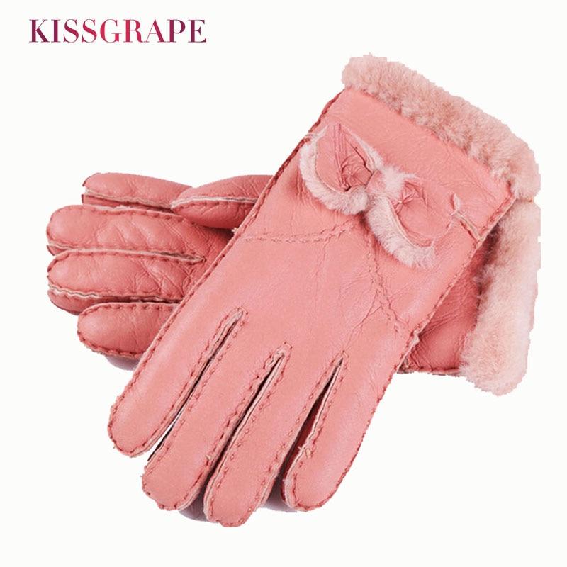 Brand Women Gloves Australia Sheepskin Fur Winter Women's Warm Genuine Leather Gloves Bowtie Ladies Mittens Outside Gloves