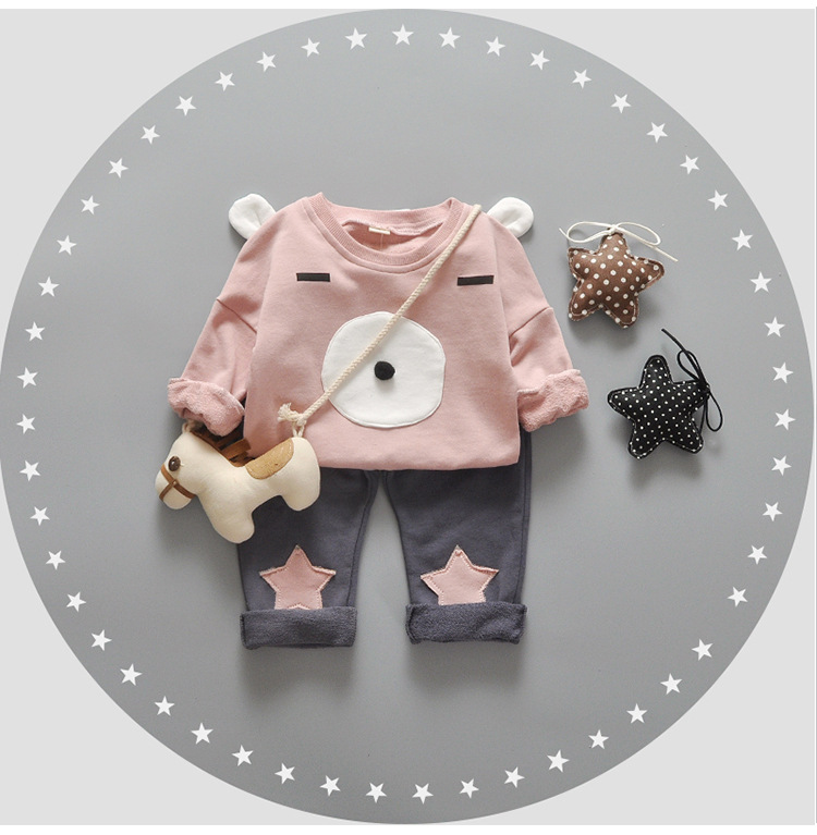 Newborn Baby Girl Clothes Korean Style Autumn Roupa Infantil Cotton Cute 2016 New Children Sets Clothing Pink