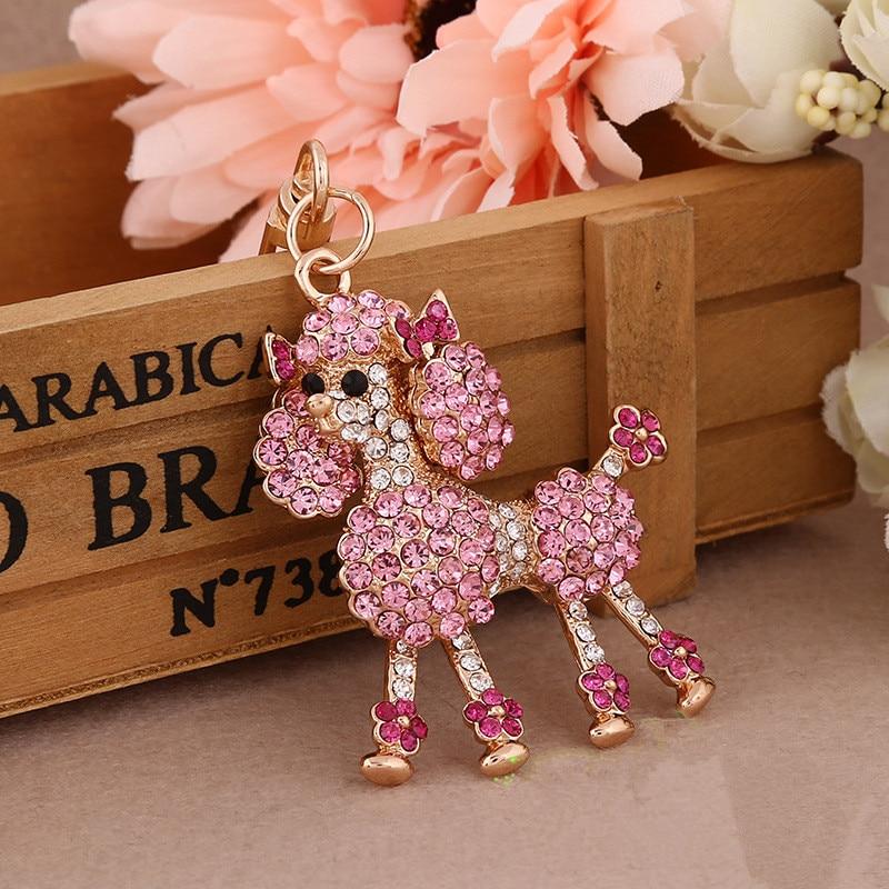 Kristal Kaniş Anahtarlık Anahtarlık Güzel Hayvan Anahtar Zincirleri Moda Rhinestone Köpek Anahtar Yüzükler Yenilik Öğeleri Kadın Çanta Charm Dreamway