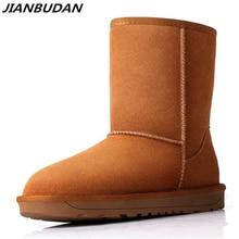 JIANBUDAN Matte leather warm snow boots 2020 new Australian style womens winter cotton shoes Cowhide 35-40