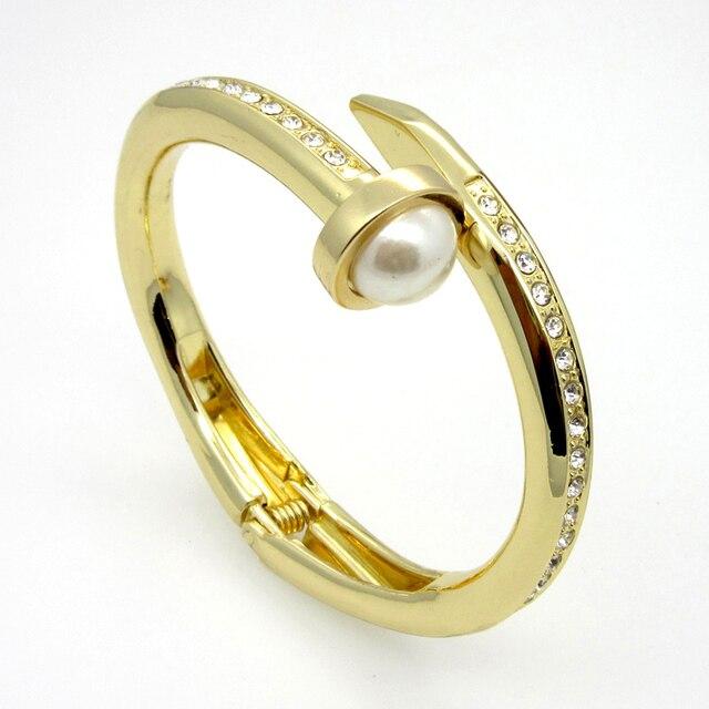 Fashion Women Jewelry Heavy Big Thick Nail Bracelet Design 18k Gold Plated Zinc Alloy Crystal Big Imitation Pearl Bangles