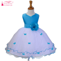 Light Blue Princess   Flower     Girl     Dresses   Ruffles With Butterfly decorations Kids Pagent Gown Cummunion Party   Dress   ZF037